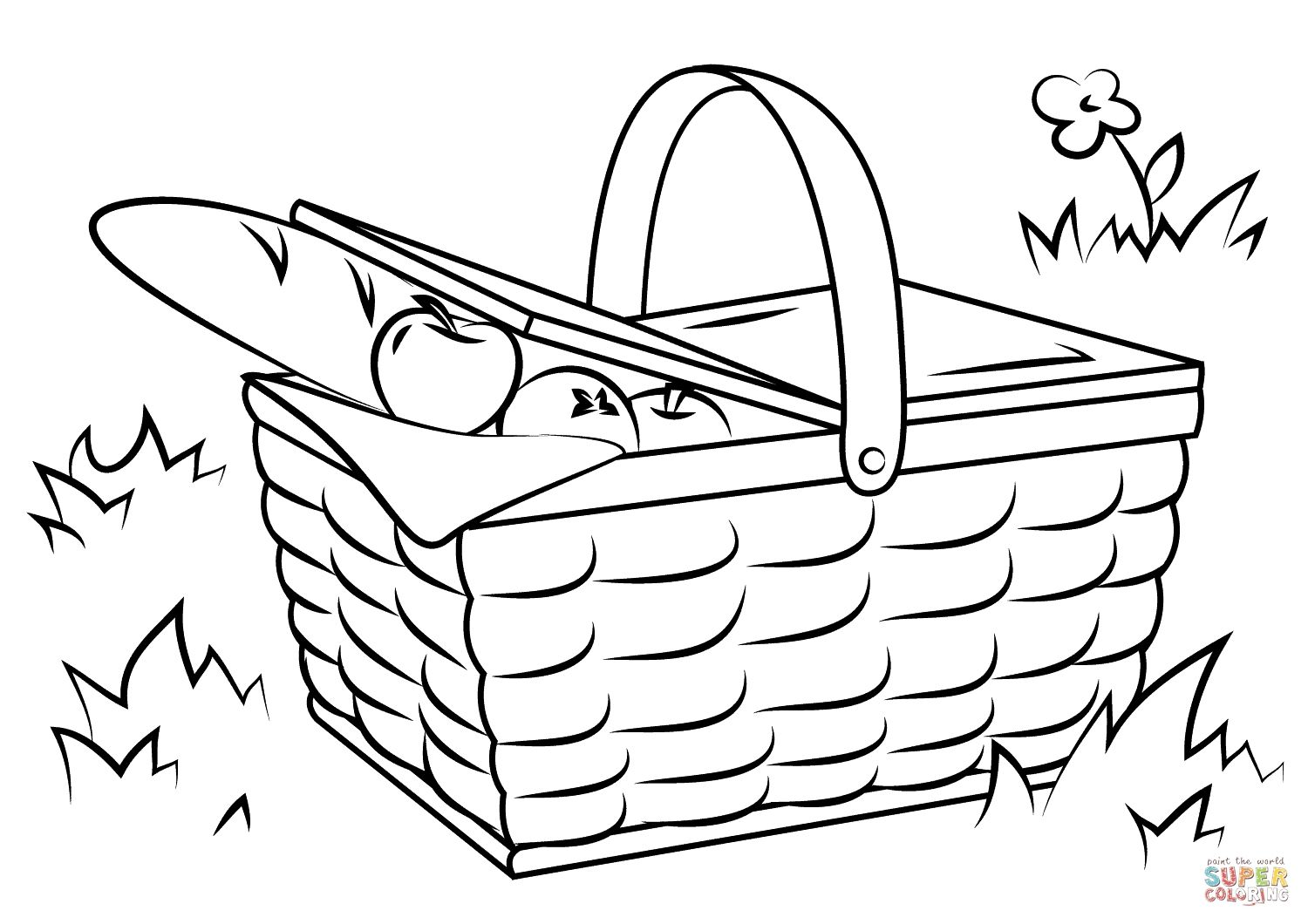 Picnic Basket Coloring Pages Download Food Coloring Pages Free
