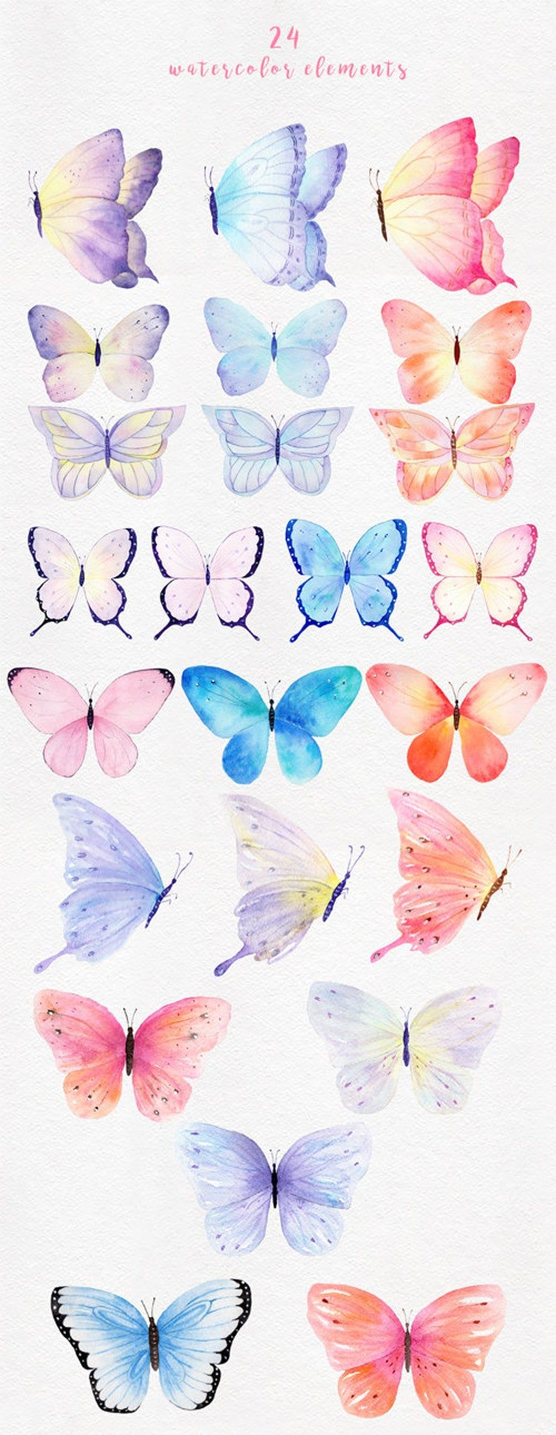 Watercolor Butterfly Clipart 24 Separate Png Element Diy Cliparts For Wedding Invitation Greeting Card Planner And Sticker Butterfly Watercolor Butterfly Clip Art Butterfly Art