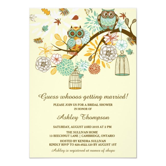 Whimsical Autumn Owls Bridal Shower Invitation
