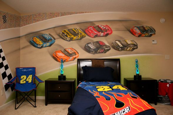 Nascar Painted Bedroom Wall With