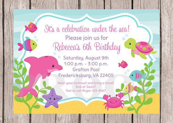 PRINTABLE Pink Dolphin Birthday Party Invitation Pink and Purple – Dolphin Birthday Invitations