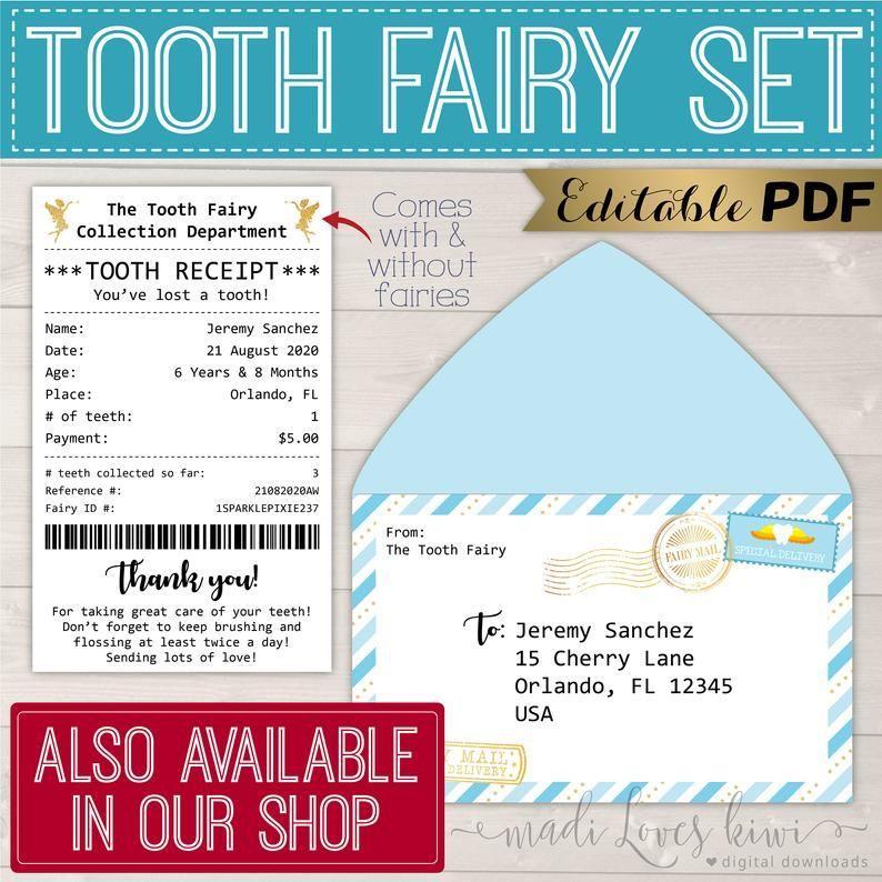Vintage Printable Tooth Fairy Letter Envelope Mini Lost Etsy Tooth Fairy Receipt Tooth Fairy Letter Tooth Fairy Receipt Printable