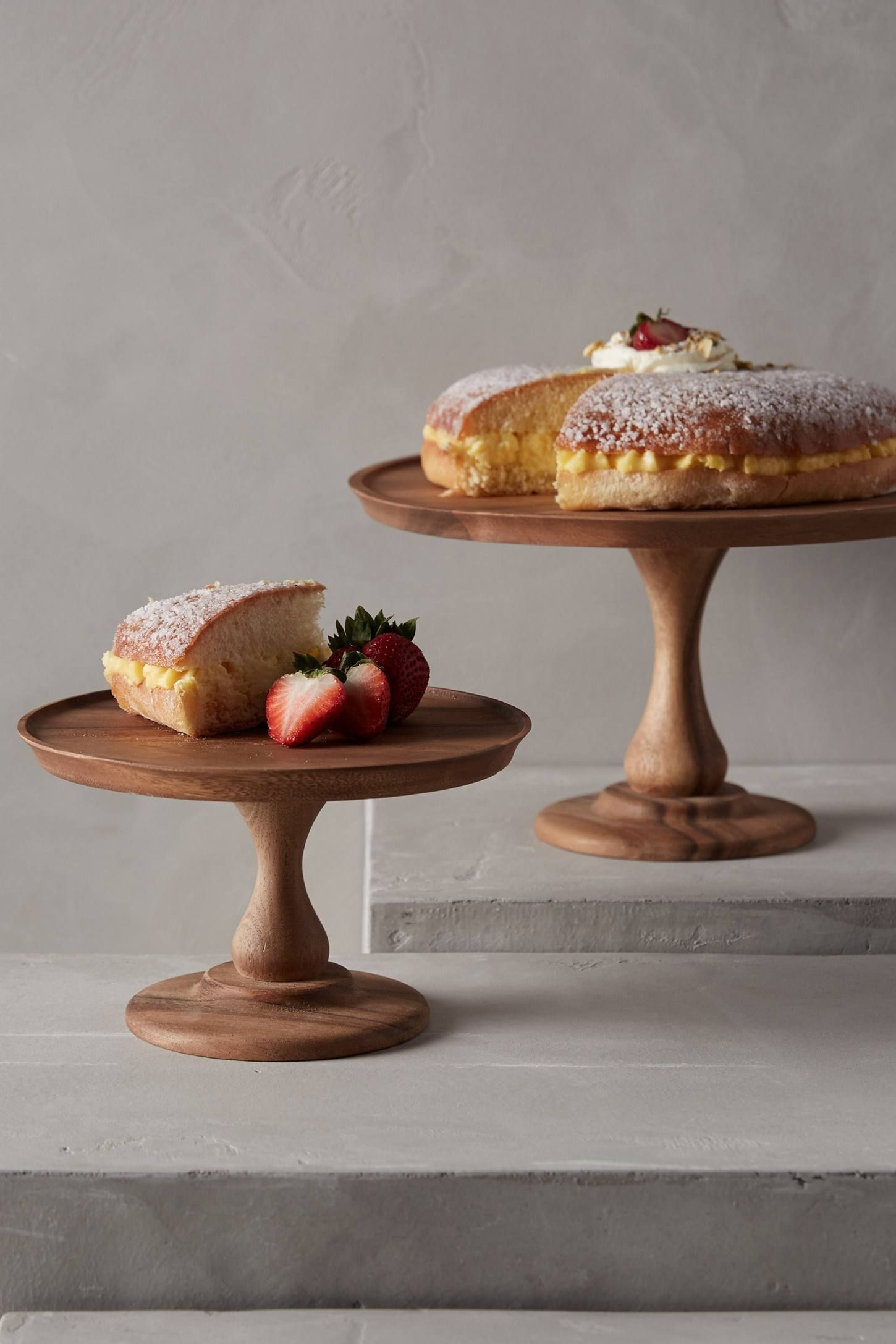 Handcarved Acacia Cake Stand | anthropologie
