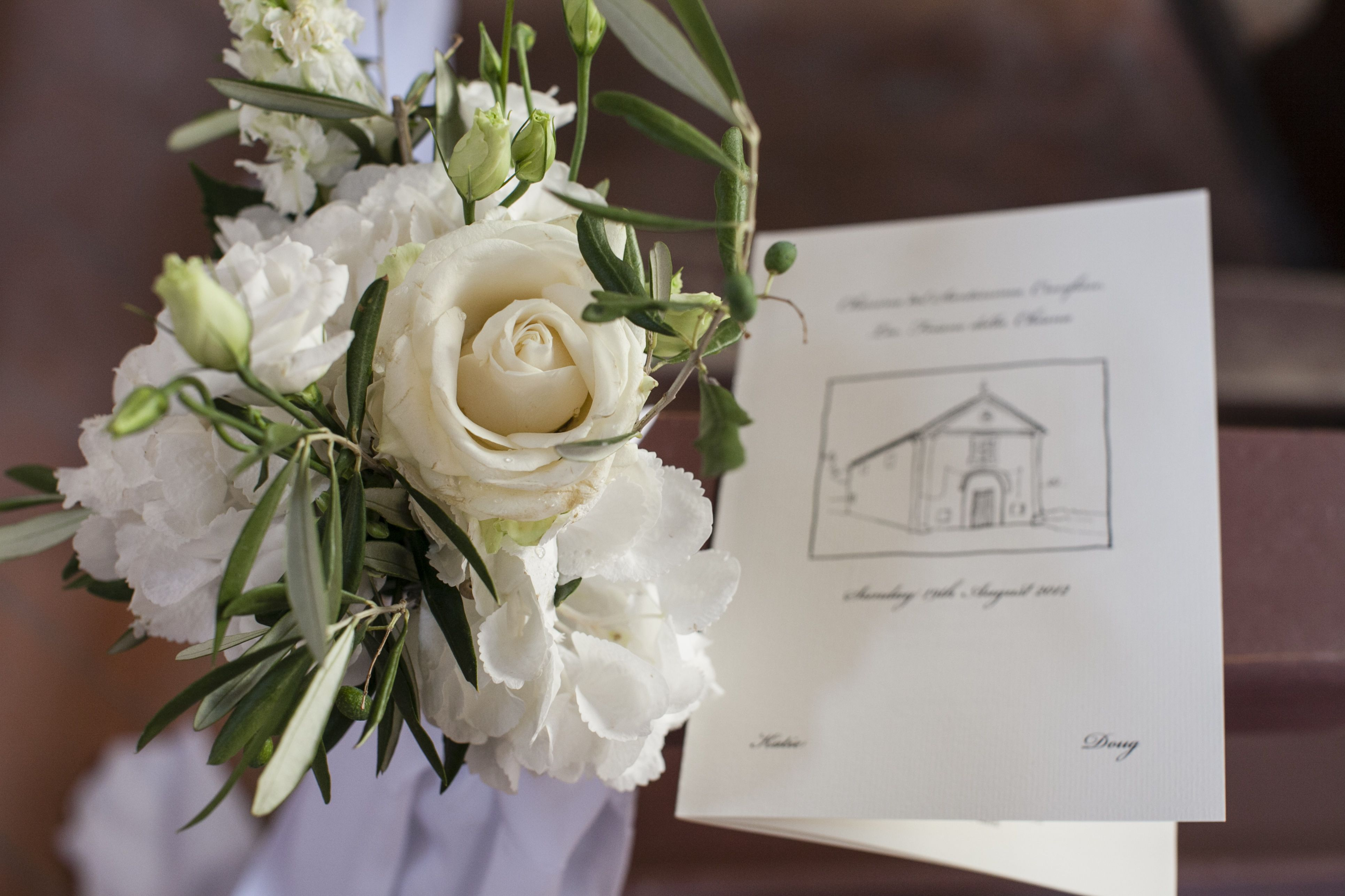 Have a friend with artistic flair sketch the venue or church and use this for your Order of Service.  A truly personal touch.