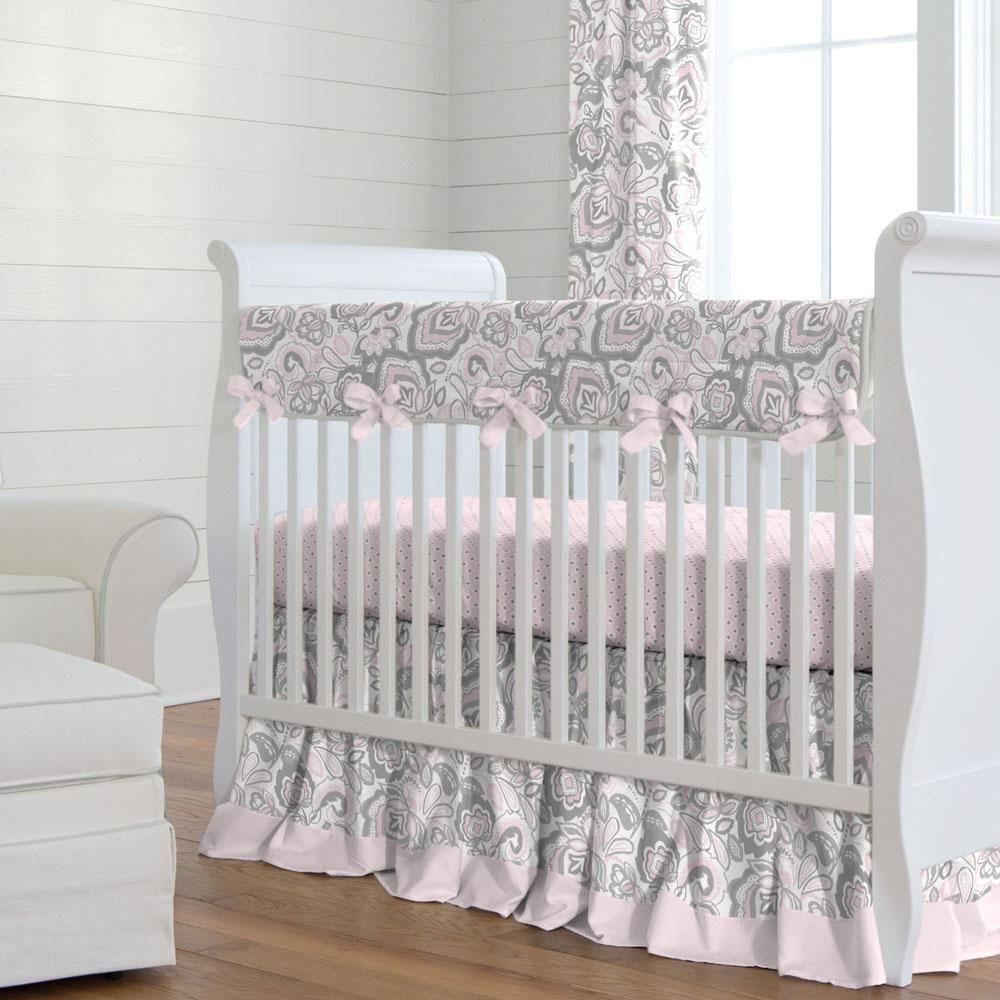 Pink Flower Garden Crib Bedding