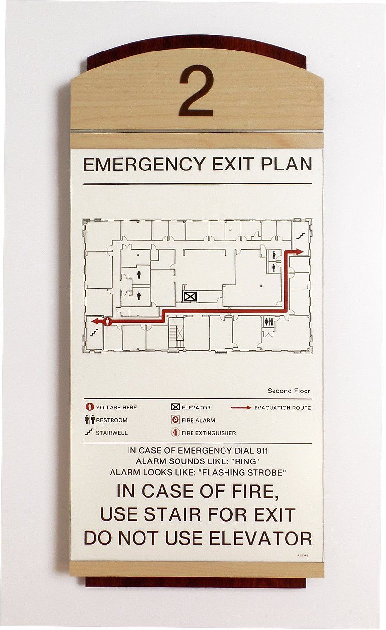 Fusion Evacuation Sign with Updateable Insert Map