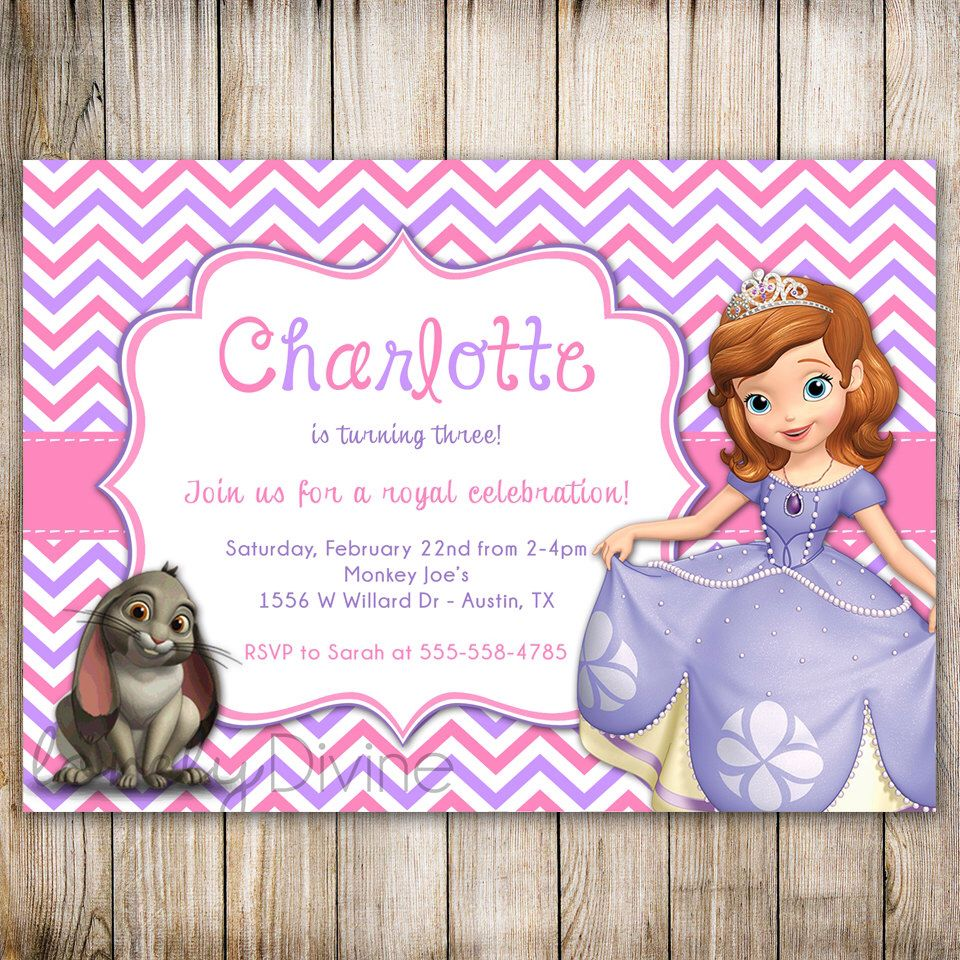 Sofia the First Chevron Birthday Invitation, Sofia Birthday, Sofia ...
