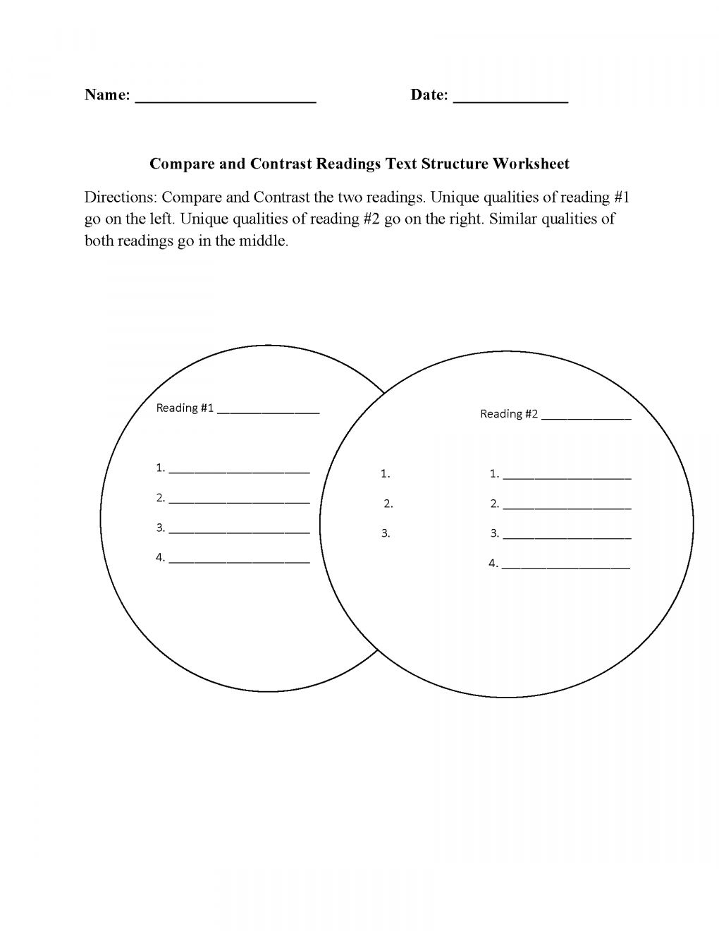 15 Compare And Contrast Reading Worksheets 5th Grade In 2020 Text Structure Worksheets Common Core Writing Reading Worksheets