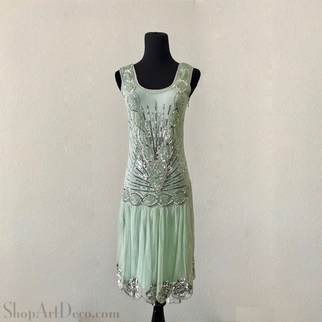 This elegant mint green 1920s flapper dress is a vintage inspired ...