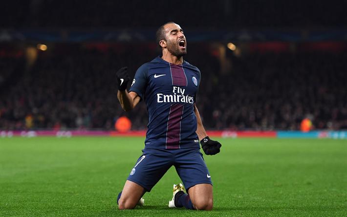 Lataa kuva Lucas Moura, tavoite, jalkapalloilijat, PSG, jalkapallo, 4k, Lucas, Ligue 1, Paris Saint-Germain