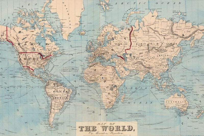 Vintage Blue Map Of The World Wallpaper Mural With Images