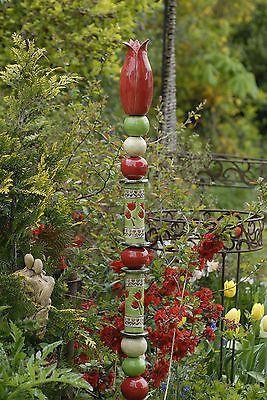 Keramik Stele Dekoration Getopfert Handarbeit Garten Rosenkugel Ton In Ebay Gartenskulptur Keramik Blumen Stelen Garten