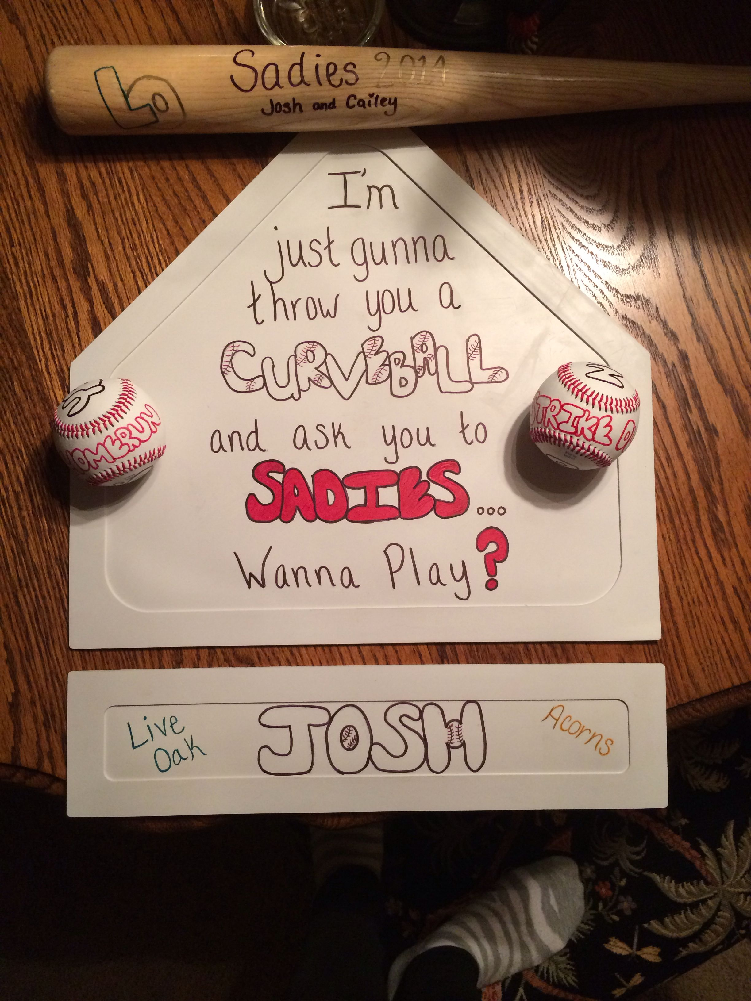 Cute ideas to ask a boy to sadie hawkins - Asking A Guy Who Plays Baseball To Sadies