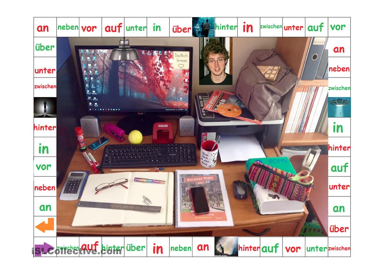 Das Spiel der Wechselpräpositionen | cours idées | Pinterest | German