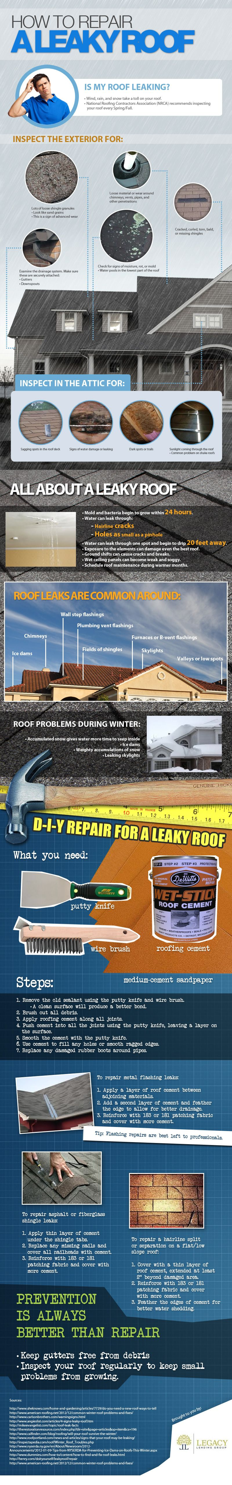 How To Repair A Leaky Roof Leaky Roof Diy Home Repair Roof Repair