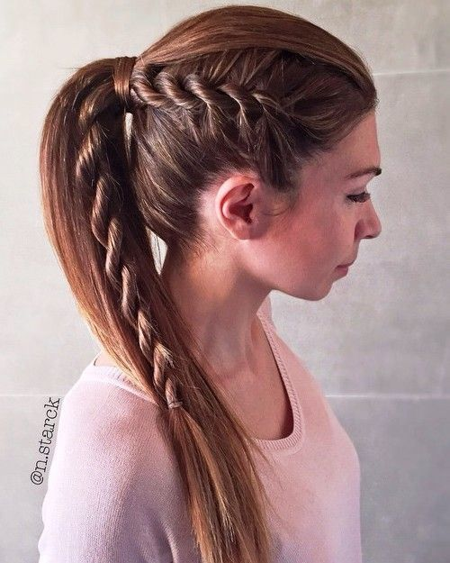 Ponytail For Straight Hair With A Side Rope Braid Rope Braided Hairstyle Straight Ponytail Hairstyles Straight Hairstyles