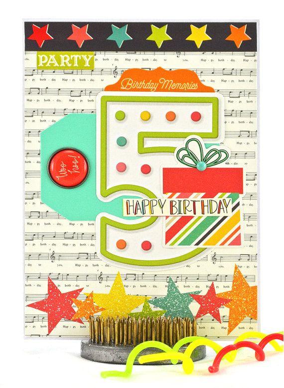 Little Girls Birthday Card 5th Birthday Card Fifth Birthday