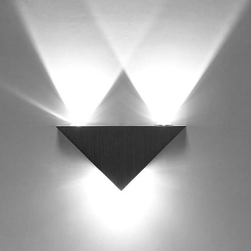 Aliexpress.com: Comprar 3 W triángulo de aluminio llevó la lámpara de pared AC85 265V del poder más elevado led iluminación hogar moderno interior y exterior luz de la decoración de enciende fuentes del partido fiable proveedores en LED-99