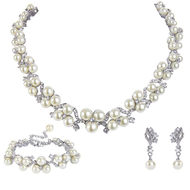 EVER FAITH Austrian Crystal CZ Simulated Pearl Victorian Style Necklace Earrings Bracelet Set Clear aseha6