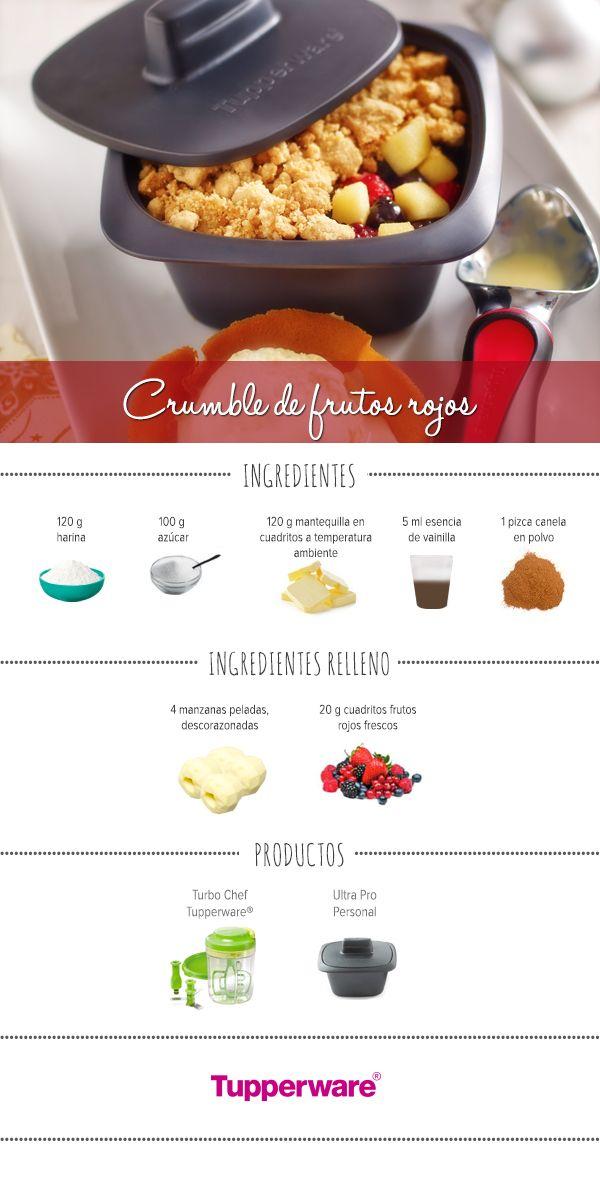 Hornea y sirve un delicioso Cumble de frutos rojos esta navidad. #Tupperware #Recetas #Crumble