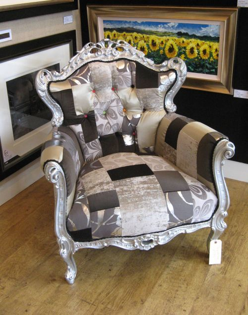 Silver U0026 Taupe Louis Style Upcycled Armchair