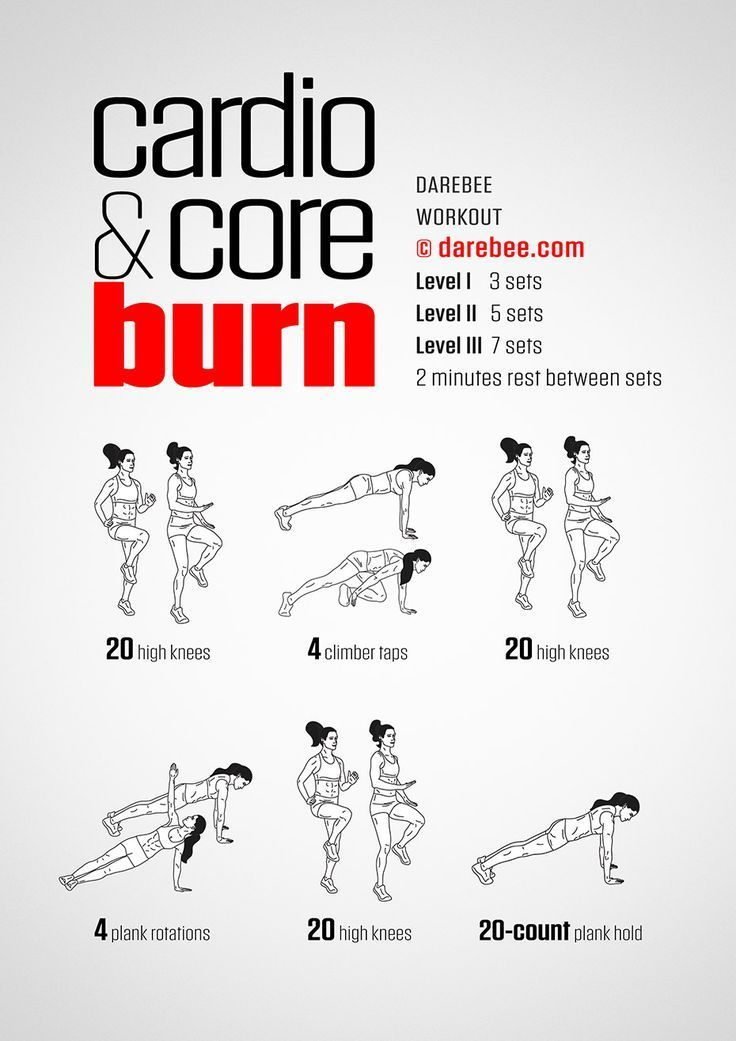 Cardio & Core Burn Workout von DAREBEE #workout #fitness #abs #cardio #fitnessmotivation - #Abs #amp...