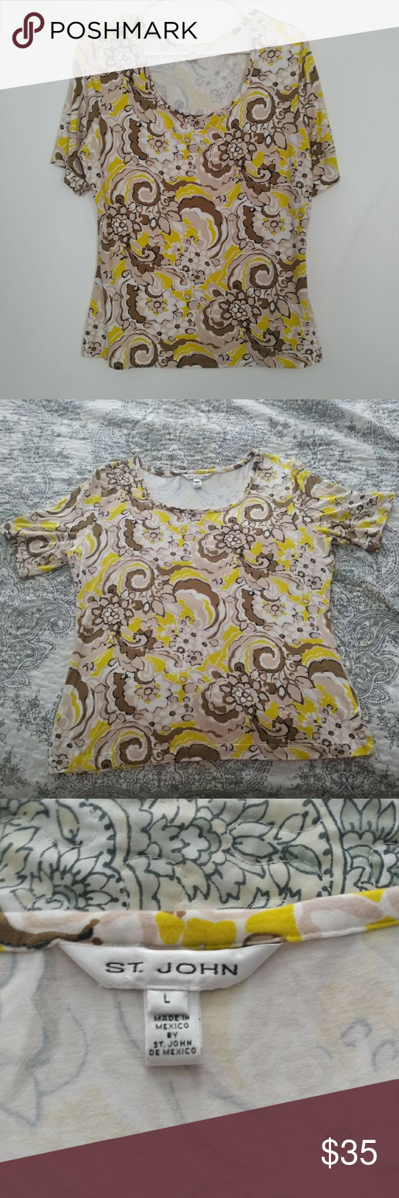 St john abstract floral design size large this shirt has white tan brown also in my posh picks rh pinterest