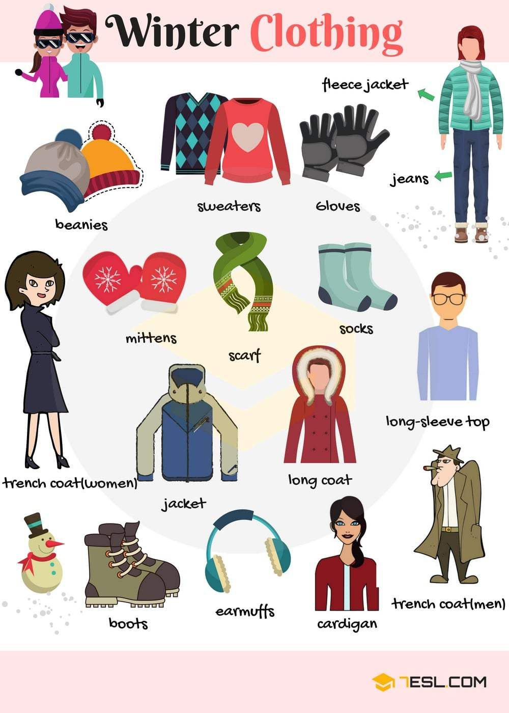 Clothes Accessories: Learn Winter Clothing Vocabulary Through Pictures (con