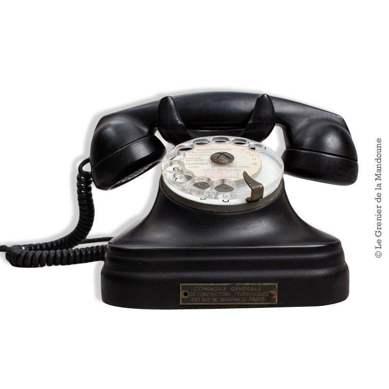 Téléphone à cadran bakélite noir French Vintage 1960 Plaque : COMPAGNIE GÉNÉRALE DE CONSTRUCTIONS TÉLÉPHONIQUES 251 RUE DE VAUGIRARD. PARIS Tonalité ok