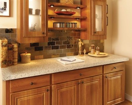 Terra Chiara Thin Granite Countertop & Bronzite Glass Mosaic Tile
