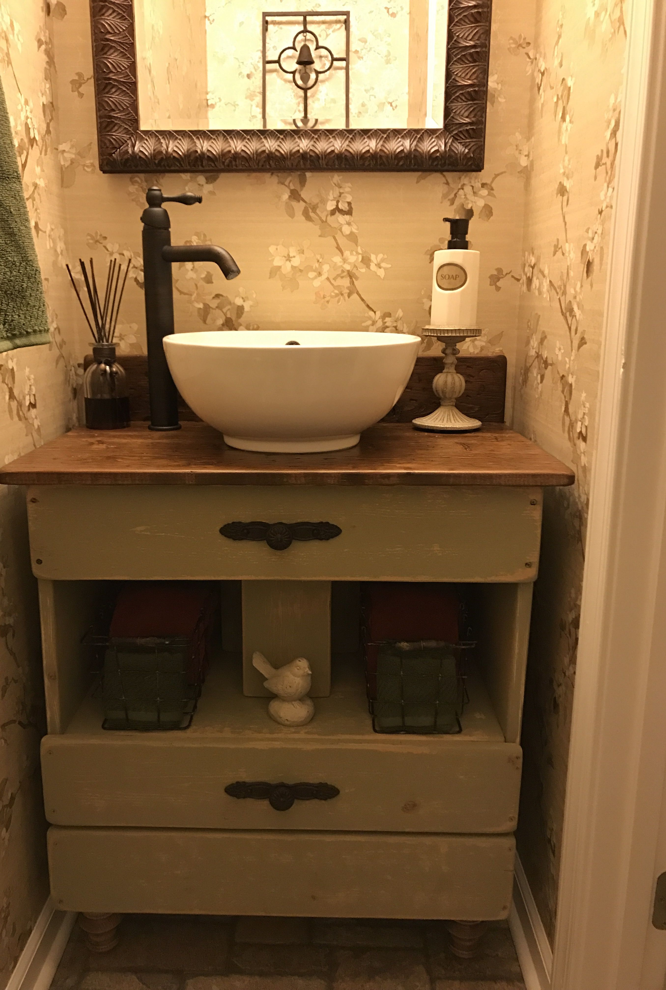 powder room with diy vanity vessel