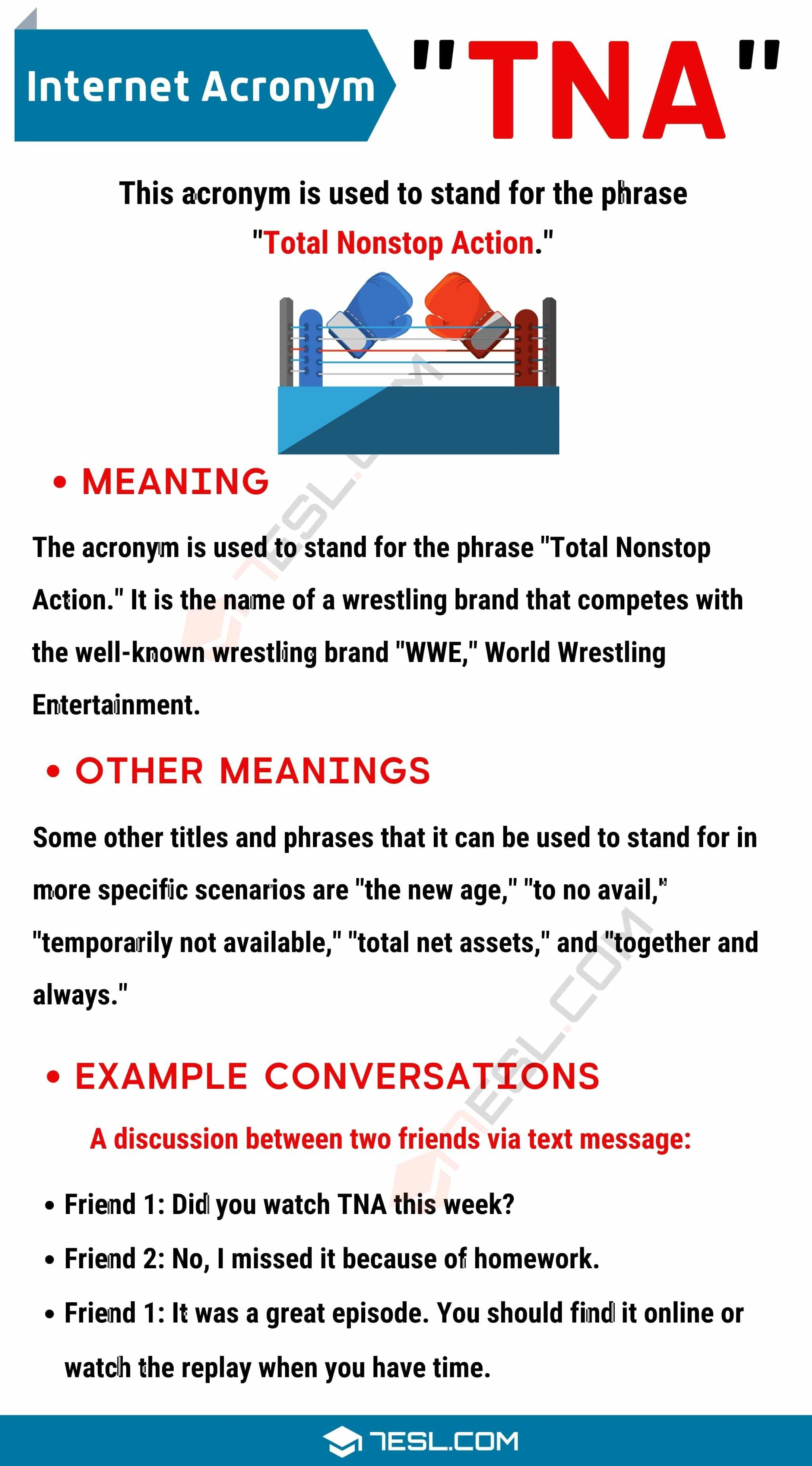 Tna Meaning What Doe The Term Mean And Stand For 7esl In 2021 Meant To Be Learn English Vocabulary Pp Paraphrase