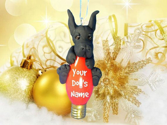 Black Great Dane Dog Choose Cropped Or Natural Ears Christmas