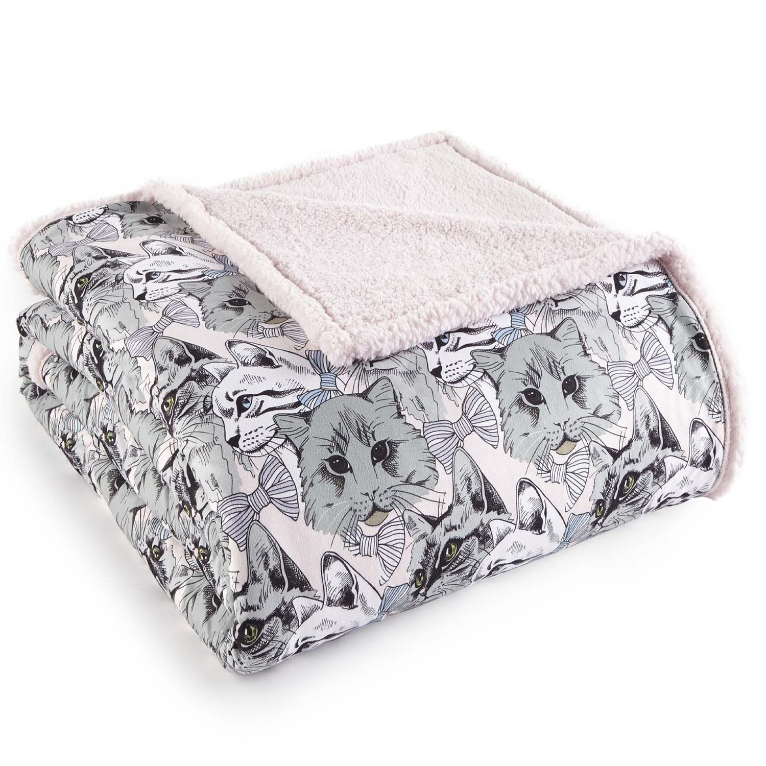Micro Flannel Reverse to Sherpa Blanket, Twin, Cat Collage