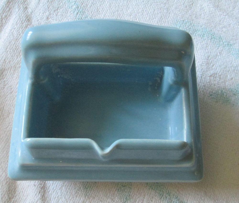 Vintage Blue Recessed Ceramic Bathroom Shower Soap Dish Holder Shower Soap Toilet Paper Holder Ceramics