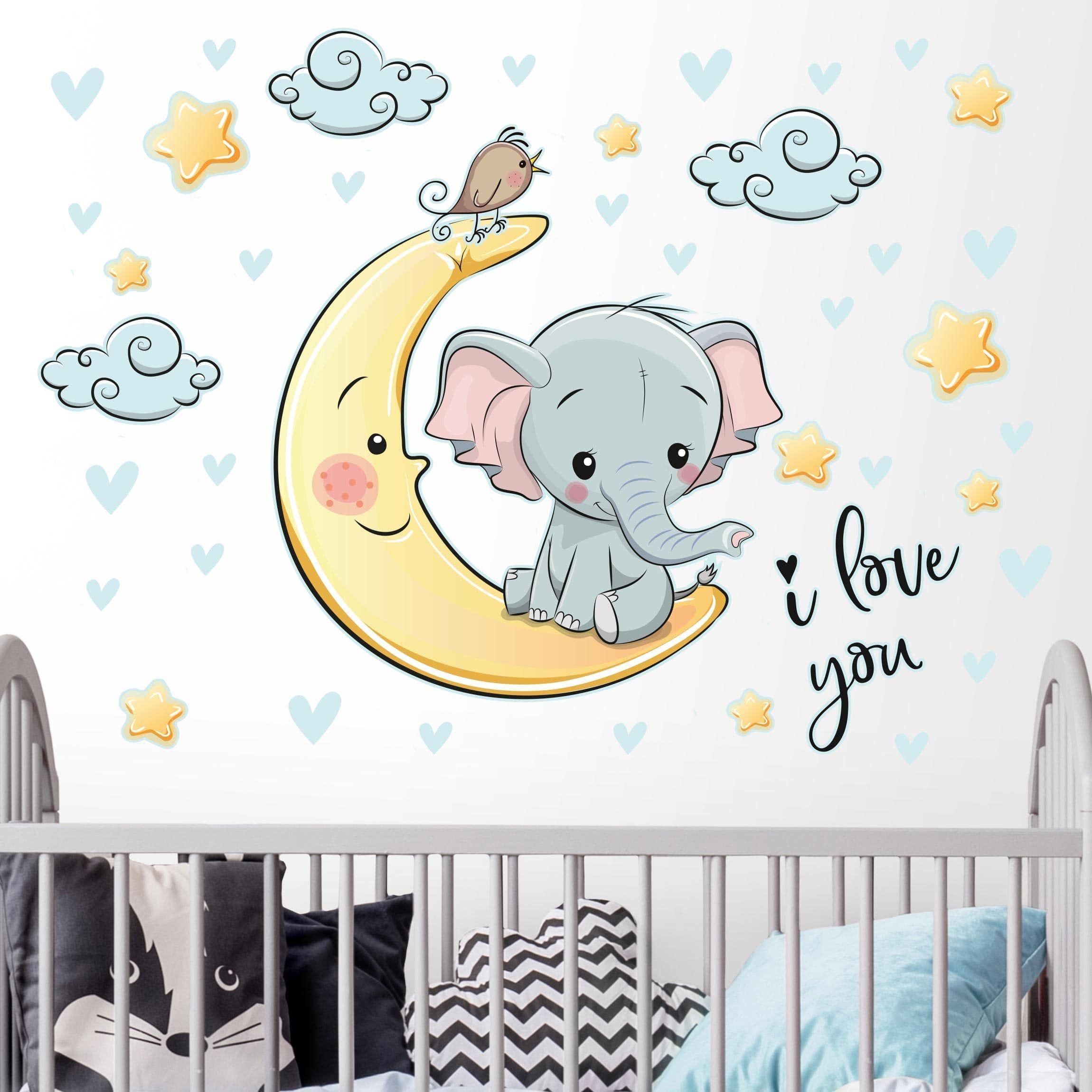 Wandtattoo Elefant Mond I love You