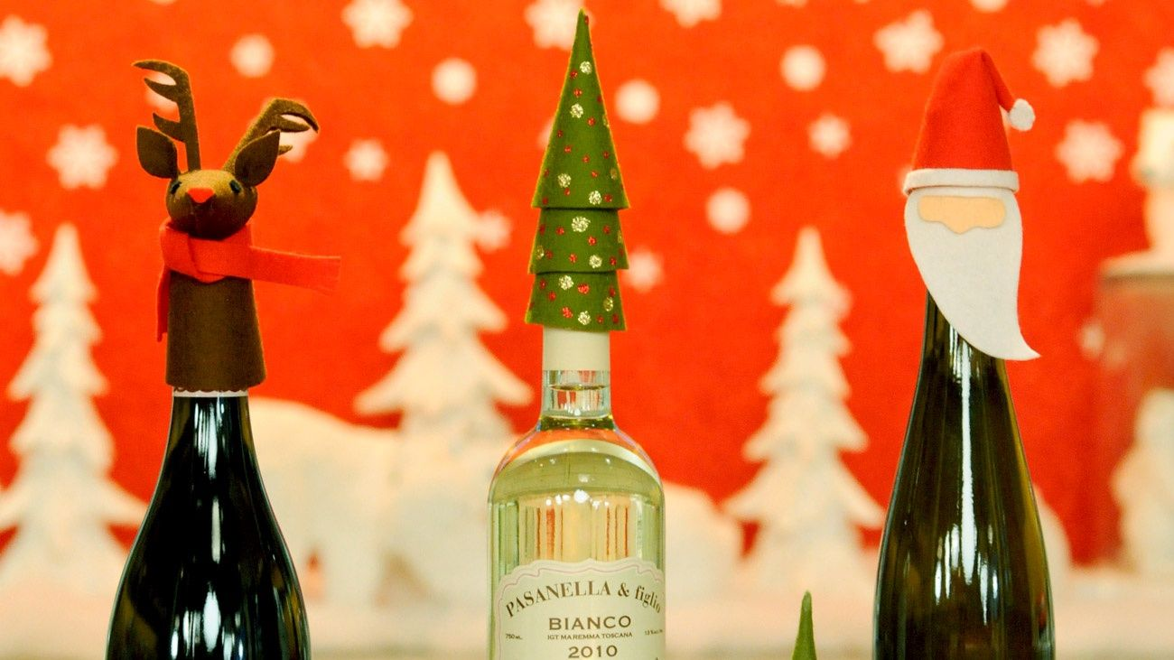 These handmade decorations add a festive touch to a bottle of wine and dress up a traditional hostess gift.