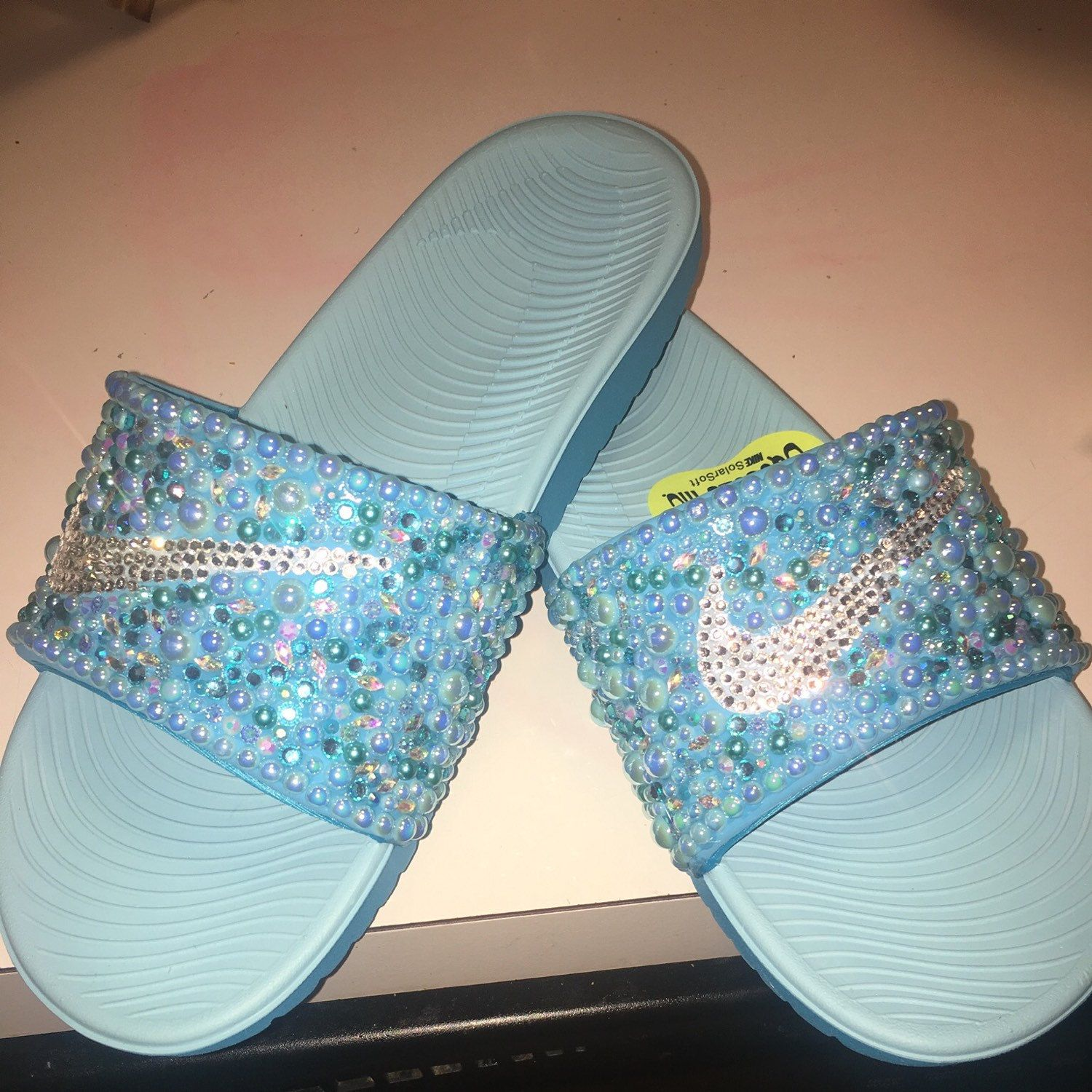 83148d967d567c Baby Blue inspired bedazzle Nike Slides Available NOW and for only 45.00.  That is correct