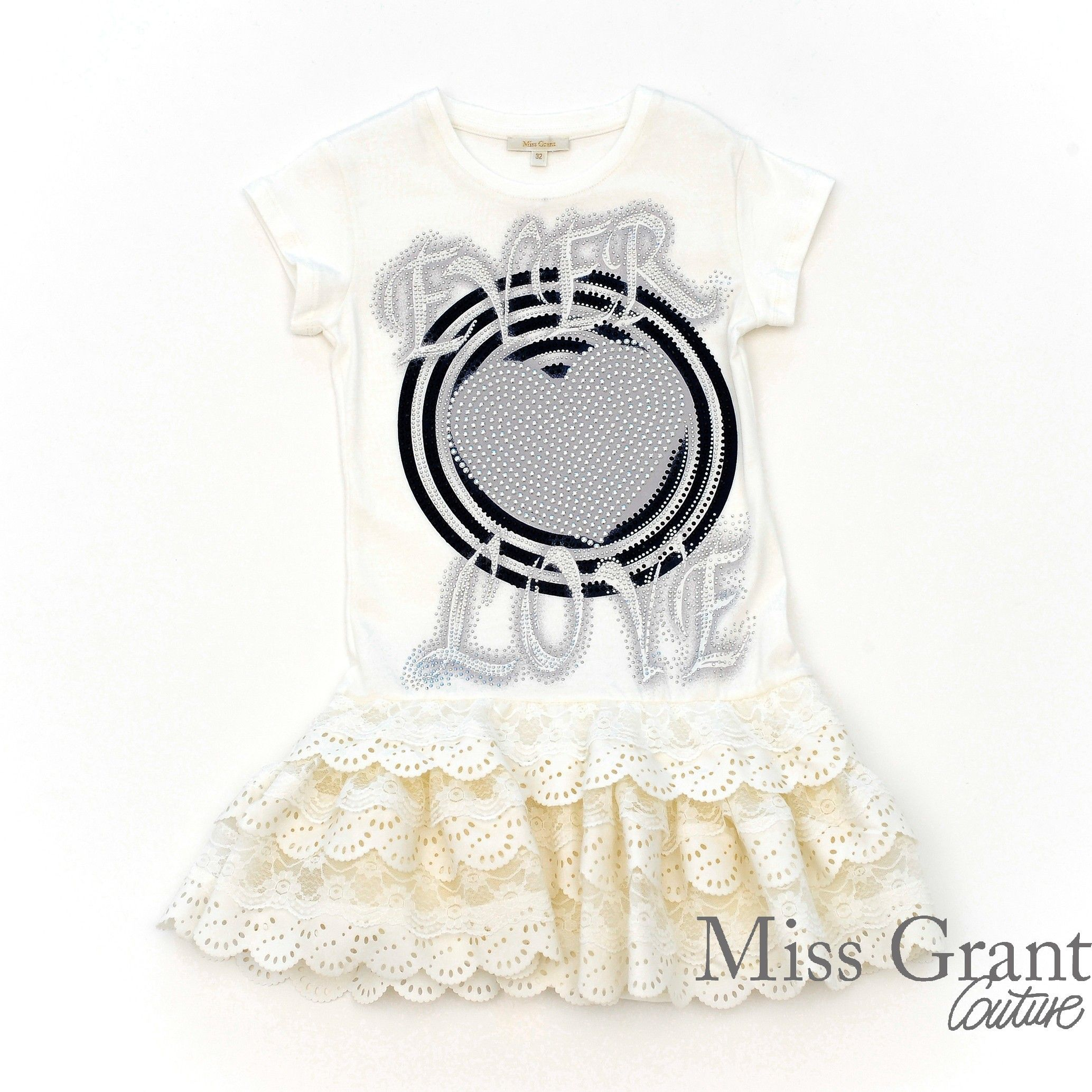 Miss Grant Cotton dress with contrasting print and flounced skirt