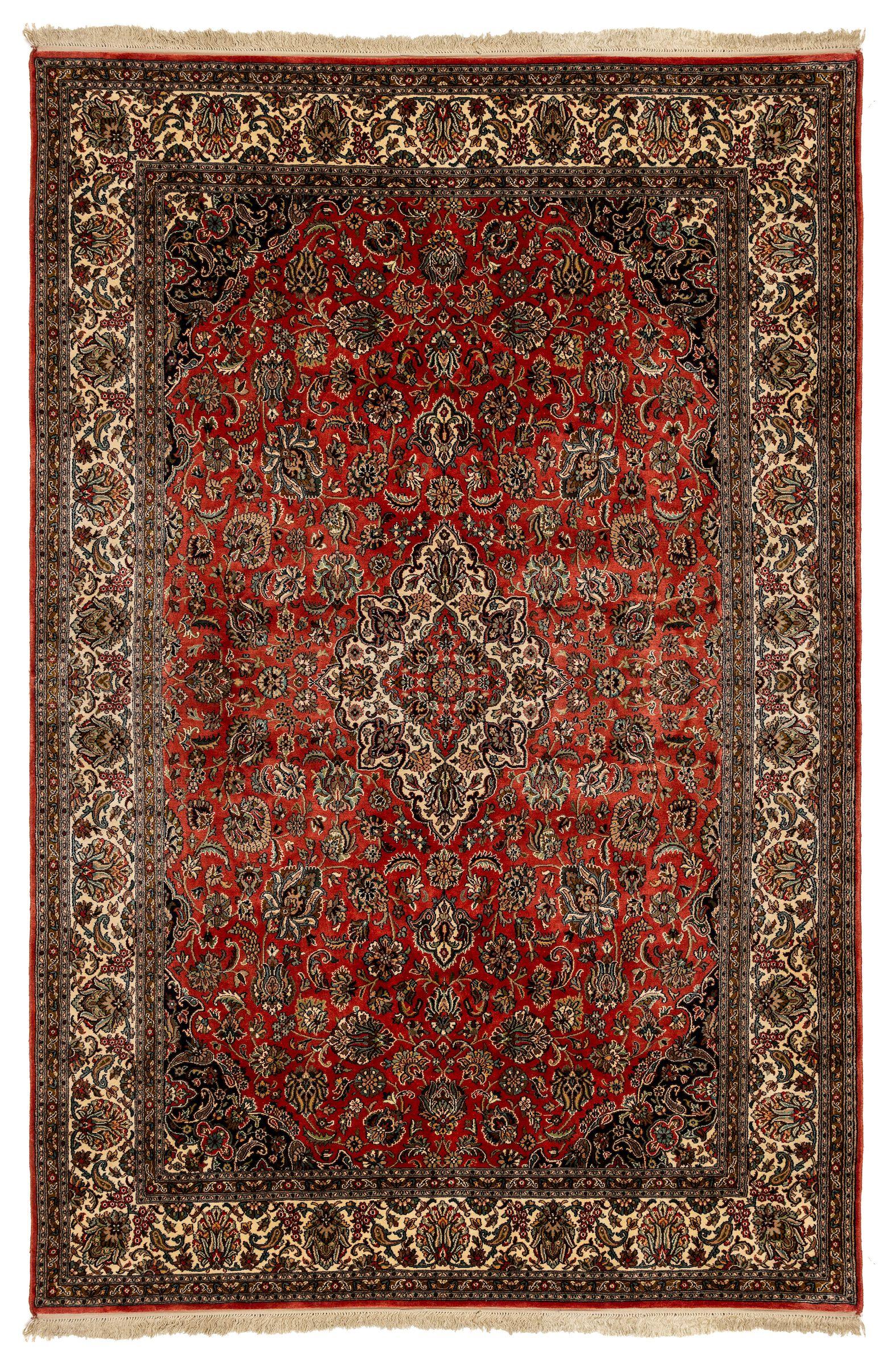 A Fine Kashmiri Double Arabesque Medallion Carpet On Deep Salmon Field Rugs Carpet Wood Lamp Design