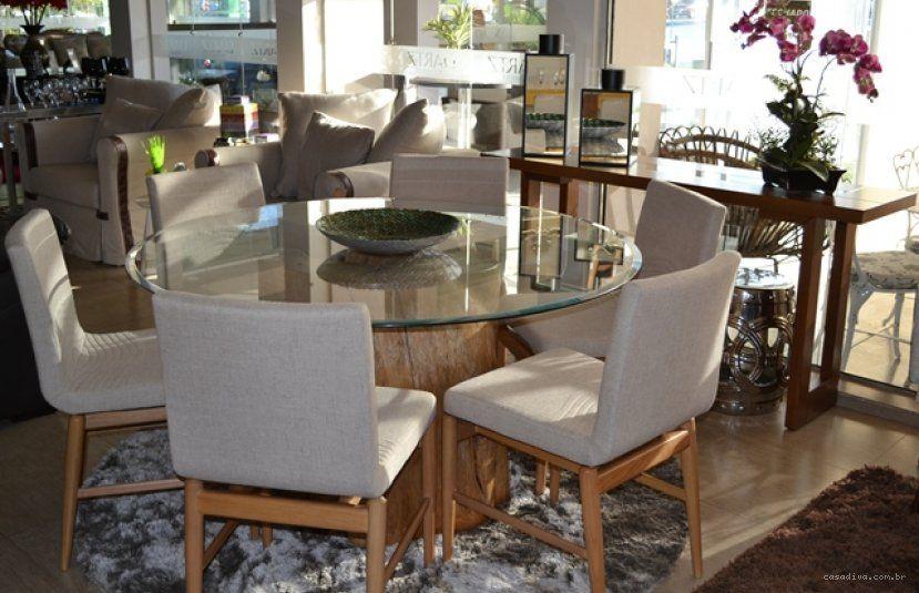 Casa diva mesa redonda com tampo em vidro e base em for Casa diva