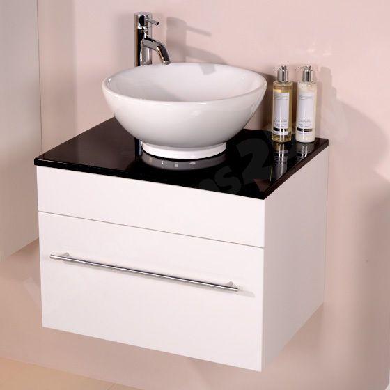 Wall Hung Vanity Unit Countertop Basin ; White Ceramic 1 Drawer Unit ;  Black Top