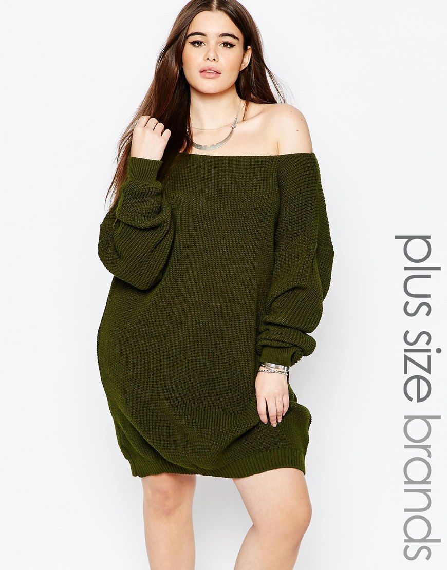Boohoo Plus Off The Shoulder Sweater Dress | Style | Pinterest ...