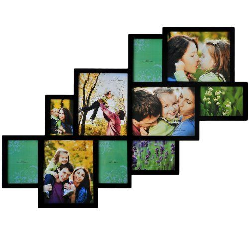 Adeco pf0018 10 opening black wooden wall hanging collage for Modern collage frame