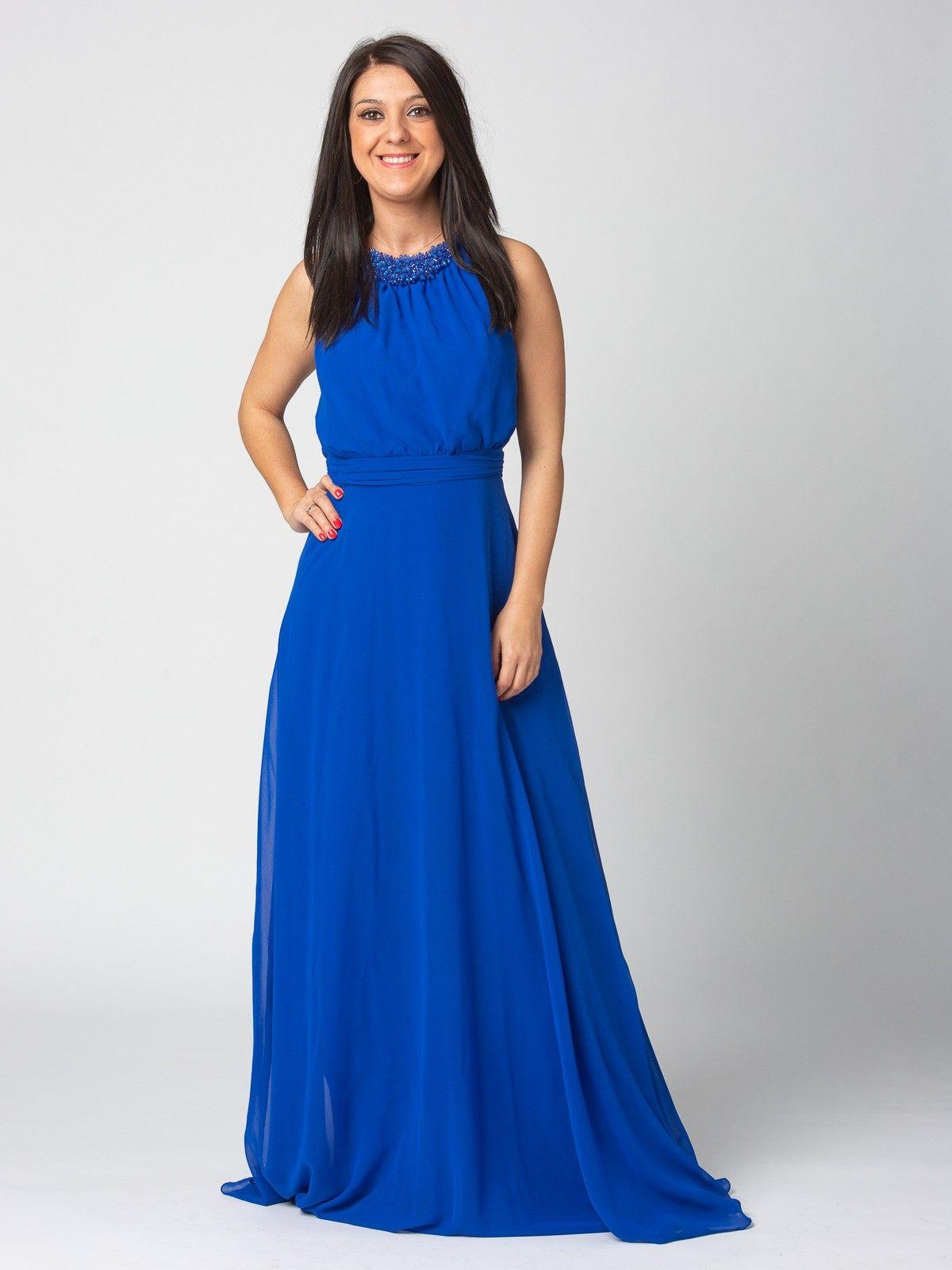 49d01a9f1 Vestido Bombay - Vestido largo en color azul klein. Detalle en cintura de  tablas.