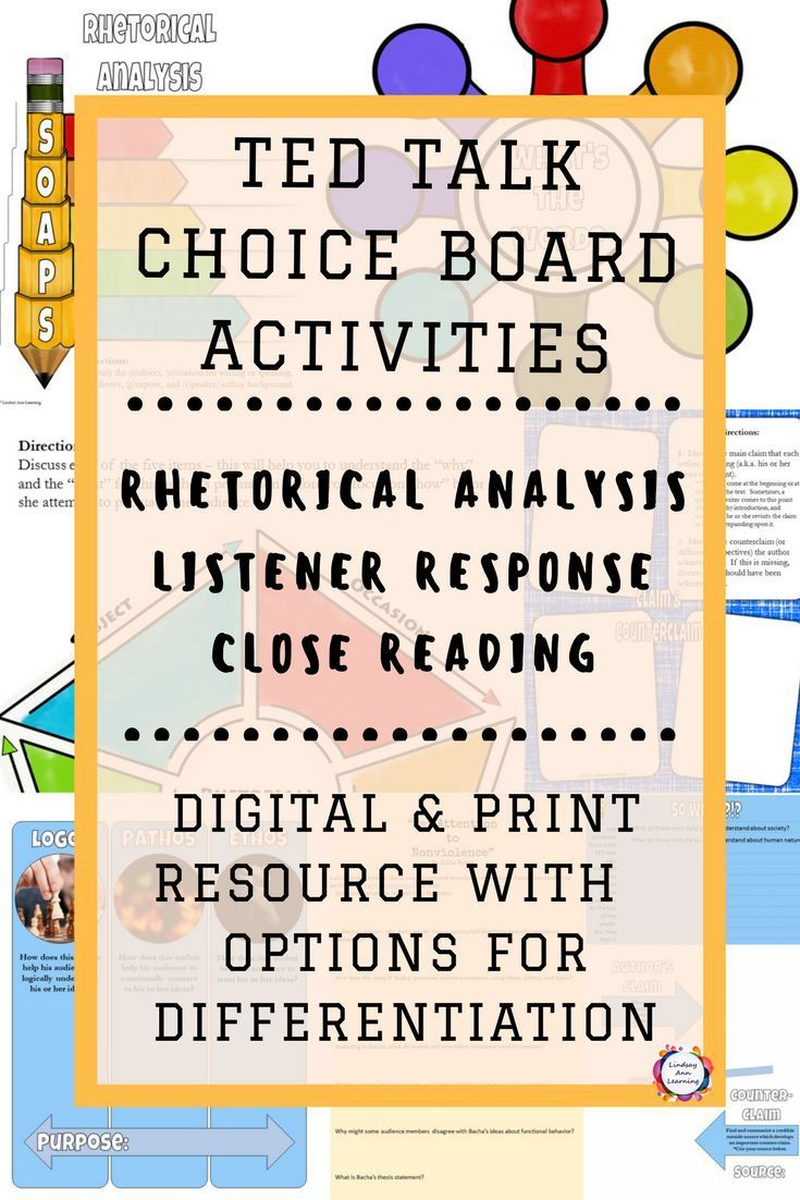 Ted Talk Reading And Writing Rhetorical Analysis Activities