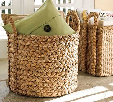 Beachcomber Extra Large Round Basket Pottery Barn Baskets Wicker Baskets Bathroom Basket Storage