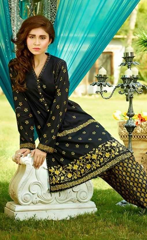 Shirt: Fabric: Embroidered Dyed Front, Printed back with Sleeves. Shalwar/Trousers: Fabric: Printed Trouser.