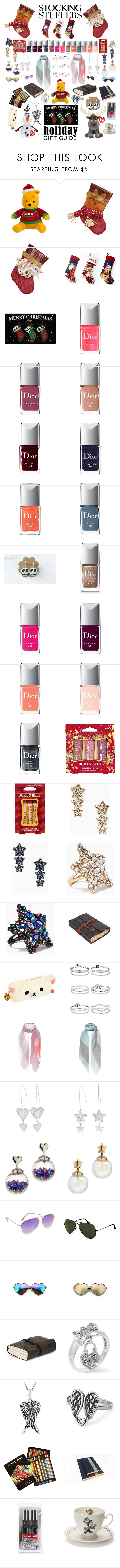 """""""Gift Guide: Stocking Stuffers"""" by hopesparksembers ❤ liked on Polyvore featuring Nourison, Disney, Christian Dior, Burt's Bees, Kate Spade, cutekawaii, Miss Selfridge, Oska, Victoria Beckham and Ray-Ban"""