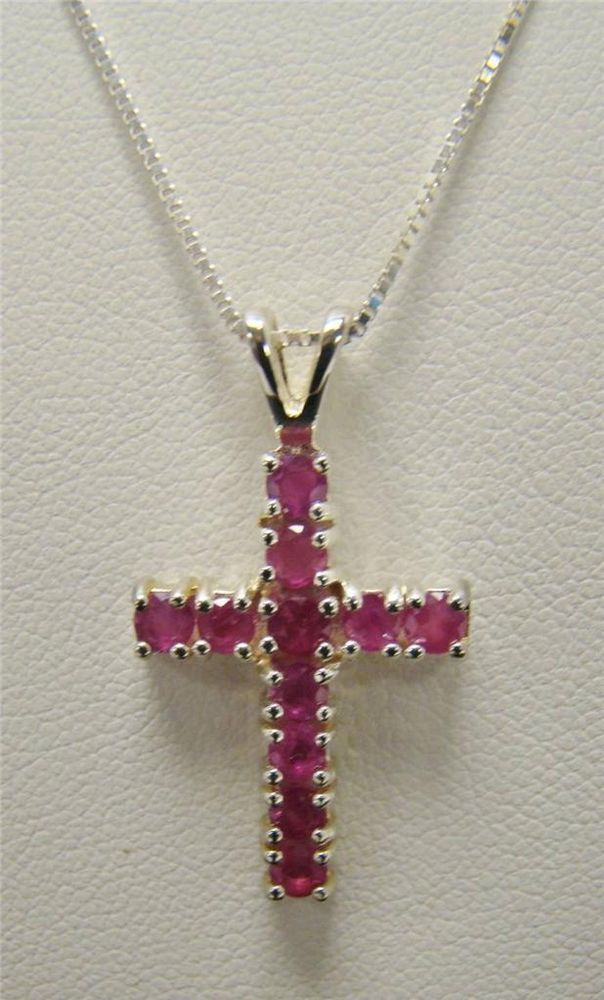 925 sterling silver genuine red ruby cross pendant 24 long necklace 925 sterling silver genuine red ruby cross pendant 24 long necklace chain 49g mozeypictures Gallery